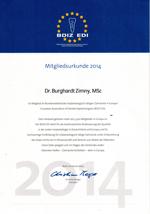 Mitgliedsurkunde BDIZ Dr. Burghardt Zimny