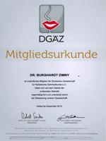 Mitgliedsurkunde DGAZ Dr. Burghardt Zimny