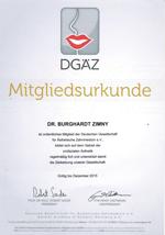 Mitgliedsurkunde DGI Dr. Burghardt Zimny