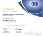 Dr Kathrin Zimny 31th Annual Meeting European Academy of Esthetic Dentistry
