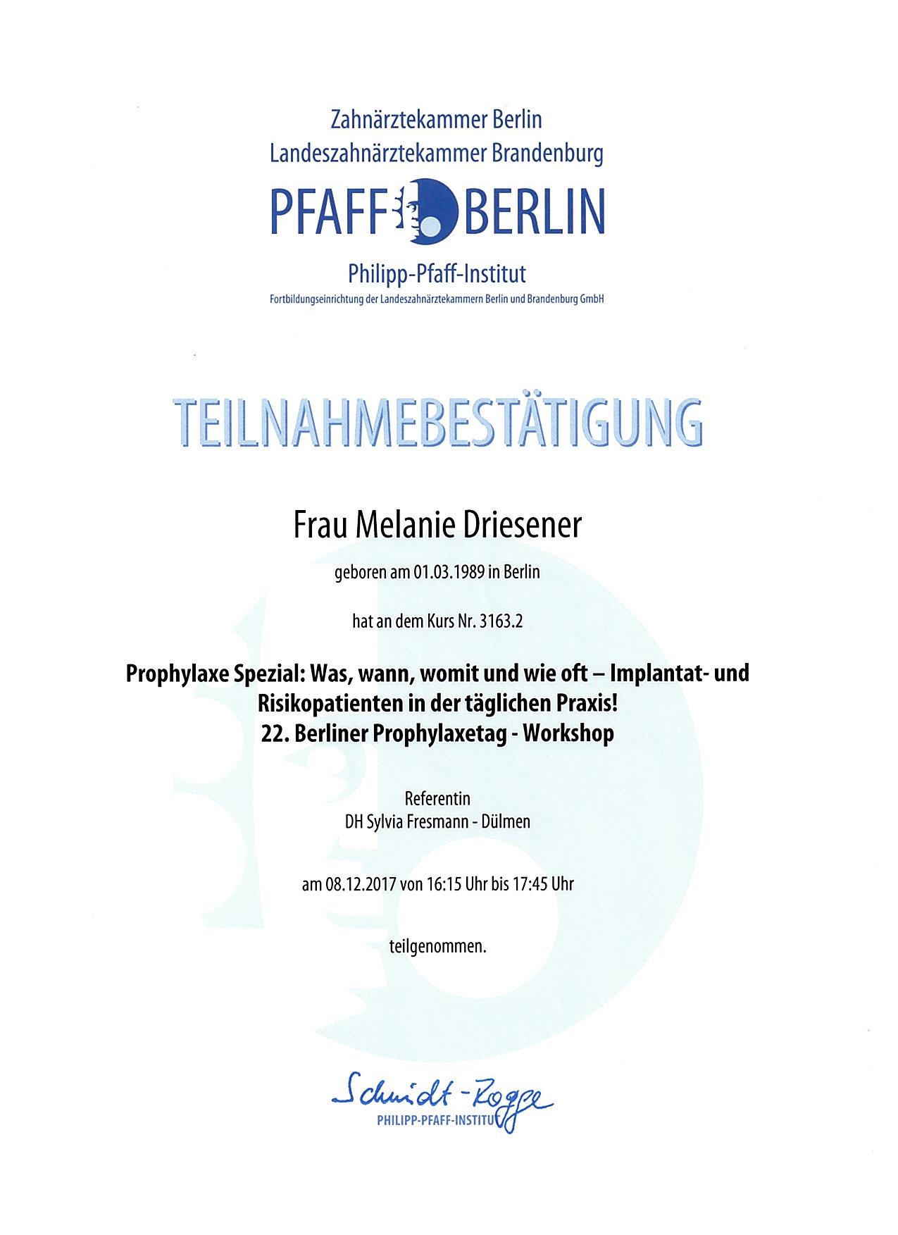 Melanie_Driesener 22. Berliner Prophylaxetag