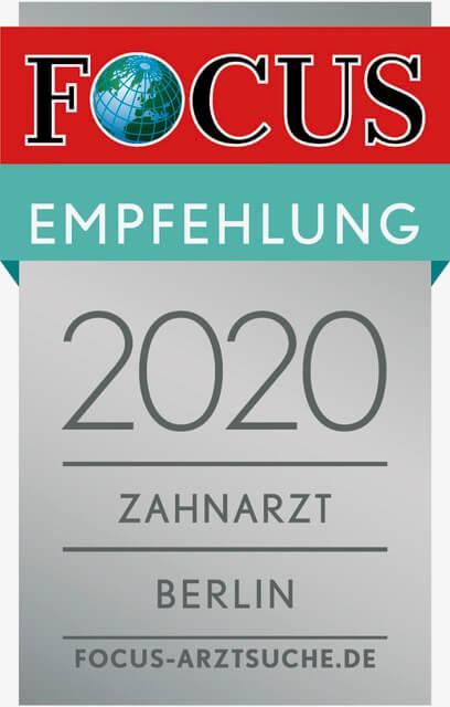 Focus Regiosiegel 2020 Zahnarzt Berlin